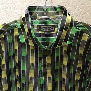 Daniel Ellissa Mens Shiny Satin Dress Shirt Green